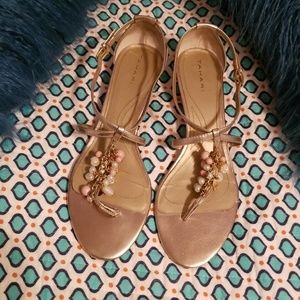 Tahari gold beaded sandals size 11
